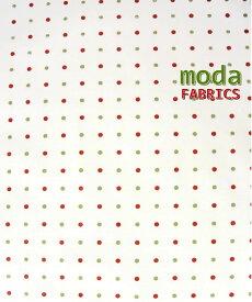 【ポイント10倍】モダUSAファブリック《赤と黄緑のドット柄》【50cm単位販売】【メール便は3mまで可】【USAコットン_moda/布/布地/生地/ドット柄】(MA23)