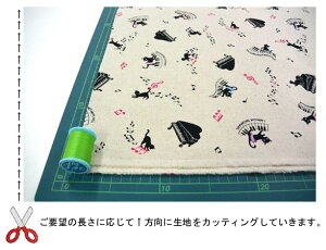 綿麻キャンバス《黒猫とピアノ柄》-4-1
