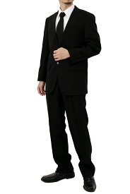 2ツ釦 ブラック フォーマル スーツ シングル パンツアジャスター機能付き 礼服 /濃染加工・深みブラック(メンズ スーツ セレモニー 結婚式 冠婚葬祭 深みブラック 黒 礼服)