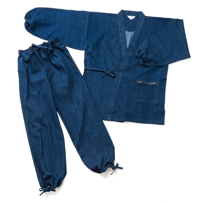 地厚 作務衣 袖ゴム メンズ ストレッチ 10オンス デニム 生地は 使い込むほどに味わいが深い 紳士 作務衣 秋用 冬用 春用 さむい さむえ