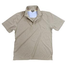 綿 スラブ 天竺 半袖 Tシャツ 衿付き 無地 ポロシャツ #3:ベージュ 【メール便・あす楽お急ぎ運送便選択可能】