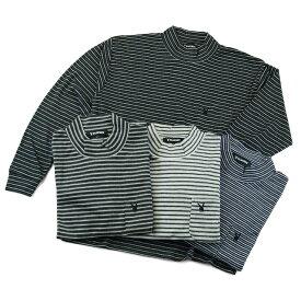 ハイネック ボーダー メンズ プレイボーイ 長袖Tシャツ 胸ポケット付 T/Cスムス 生地 起毛素材 柔らか 肌触り 抜群 アンダーウエアー 作業着 ユニフォーム 制服