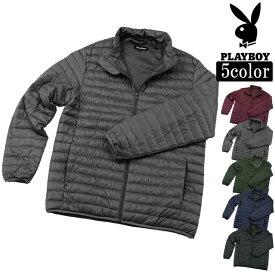 ジャケット 中綿 キルト 軽量 冬用 メンズ プレイボーイ PLAYBOY マイクロ ファイバー ダウン ジャケット 軽量 中綿 ワンポイント刺繍 あったか 防寒