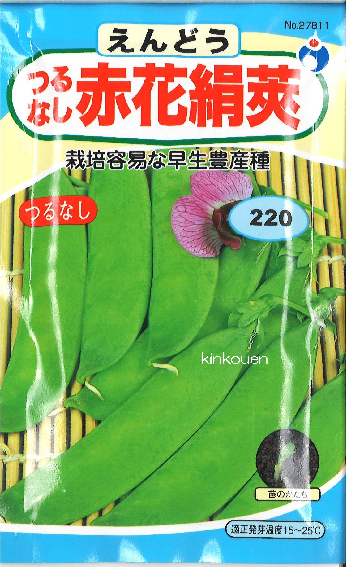 【代引不可】【5袋まで送料80円】 □ エンドウ つるなし赤花絹莢えんどう