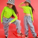 ダンストップス長袖グリーンキッズダンス衣装ヒップホップセットアップ子供HIPHOP演出服長袖ジャズダンスステージ衣装練習着おしゃれステージ衣装ガールズジャッズヒップホップ演出服ダンスウェアジュニアjazzDJオシャレ