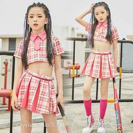 ピンク キッズダンス衣装 セットアップ チアダンス衣装 ヒップホップ チアリーダー 衣装 ジャズダンス HIPHOP スカート 応援団 体操服 ステージ衣装 可愛い かわいい ユニフォーム チアリーディング 練習着 フリーツスカートチェック柄