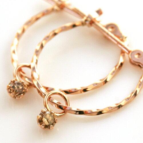 選べるピアスとイヤリング ブラウンダイヤモンド 10K ゴールド フープピアス レディース イアリング・ハムネット K10 10金 華奢 シンプル おしゃれ デザイン ジュエリー 人気 おすすめ 一粒 ブランド