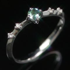 18Kアレキサンドライトエメラルドマイン社ブラジル産ダイヤモンドリングレディース指輪・ショッパリーゼK1818金稀少石レアストーンカラーチェンジカラー華奢シンプルファッションリング可愛いゆびわジュエリーブランド