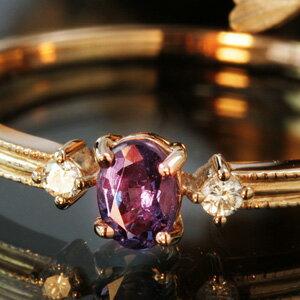 18K エメラルドマイン社ブラジル産アレキサンドライト ダイヤモンド イエローゴールド ピンクゴールド ホワイトゴールドリング 指輪・リュシル 5月誕生石 レディース Bizoux ビズー ブランド おしゃれ