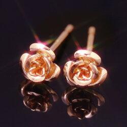 【あす楽対応】セカンドピアスレディース18K軸太・ローズィントピアスレディースピンクゴールドホワイトゴールドバラ薔薇花フラワーモチーフスタッド華奢シンプル18金K18ピアスポストが太いピアスポストが長い誕生日プレゼント女性可愛いピアス