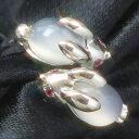 ルビー ムーンストーン K10 ホワイトゴールド リング レディース 指輪・月うさぎのリング レディース 指輪 10金 10K …