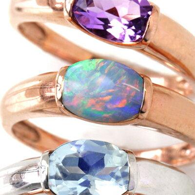 オーストラリア産オパール 10K ゴールド リング レディース 指輪・フィアナ 大粒 ピンクゴールド ホワイトゴールド 10金 K10 ボリューム 人気 おしゃれ シンプル 指輪 太め ファッションリング 可愛い ゆびわ ジュエリー 一粒リング 10月誕