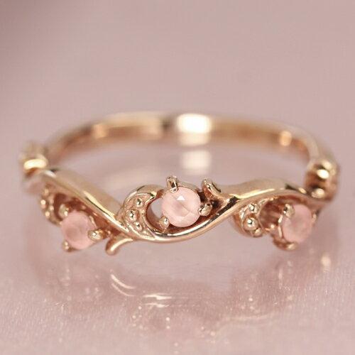 インカローズ ロードクロサイト リング 指輪 10K レディース ピンクゴールド・ユリアンヌ ピンキーリング対応 重ねづけ エレガント K10 10金 華奢 シンプル ファッションリング デザイン おしゃれ アラベスク ブランド 宝石 ピンクカラーストーン 可愛い 人気