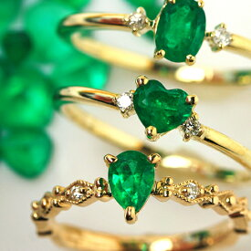 K18 コロンビア産エメラルド ダイヤモンドリング レディース 指輪・エメラルドカルテット ペアシェイプ オーバル 18K 18金 ピンクゴールド ホワイトゴールド 華奢 シンプル ファッションリング 5月誕生石リング おしゃれ デザイン ジュエリー ブランド 宝石