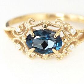 クーポンで最大3000円OFF!ロンドンブルートパーズ ダイヤモンド ゴールド リング レディース 指輪・ディープルブレン 10K K10 10金 アンティークジュエリーのようなデザインリング 華奢 シンプル ファッションリング 可愛い ゆ