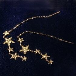 スターモチーフK10ゴールドアメリカンピアスレディース・ミスティータ星ロングピアスレディースキラキラ地金ピアスレディースおしゃれ大人10金10K