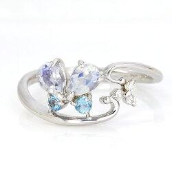 10金K10カラージュエルダイヤモンドカラーゴールドピンキーリング・ジュエルバタフライ蝶チョウチョ指輪小指レディース華奢ピンクゴールドホワイトゴールドプレゼント個性的ファランジリングミディリングおしゃれかわいい可愛い