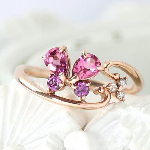 ピンキーリング 指輪 10K レディース ダイヤモンド カラーストーン ゴールド・ジュエルバタフライ 蝶 ちょうちょ カラフル モチーフ デザイン 小指 華奢 ピンクゴールド K10 10金 ファランジリング おしゃれ かわいい 可愛いゆびわ ファッションリング ブランド