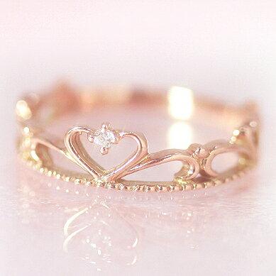 【あす楽対応】10金 ダイヤモンド ピンクゴールドリング 指輪・プリエール ピンキーリング対応 プリンセスのティアラ 王冠 クラウン 姫 ハート かわいい 小指の指輪 人気 レディース 10K K10 誕生日プレゼント 女性 ファランジリング ジュエリー ブランド