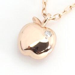 ルビーダイヤモンドカラーゴールドネックレス・ルビーアップルリンゴレディース華奢ピンク赤パヴェ1粒ダイヤモンドシンプルかわいいリバーシブル