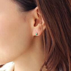 【送料無料】ザンビア産エメラルドダイヤモンドK18イエローゴールドピンクゴールドピアス・フラヴィエセミオーダーシンプル