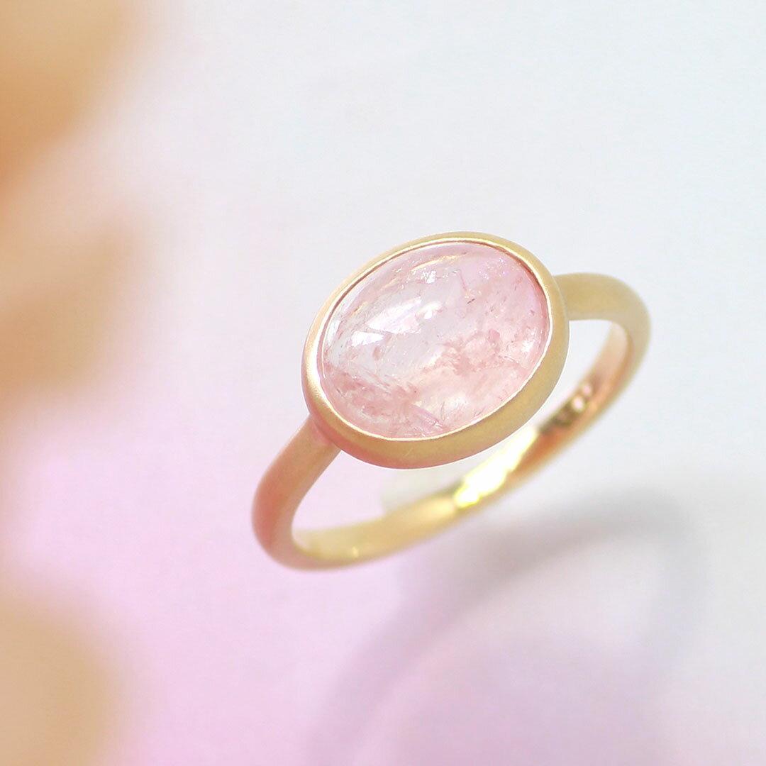 ピーチモルガナイト リング 10K イエローゴールド レディース 指輪・ハウ 大粒 ボリュームリング K10 10金 ファッションリング 3月の誕生石リング 桜色 ピンク色 ジュエリー ブランド 一粒リング 宝石 おしゃれ