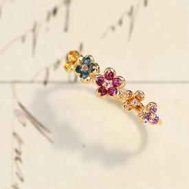 マルチカラージュエル イエローゴールドリング・フルーリ リング 指輪 10K フラワー 誕生日プレゼント お花 リング フラワーモチーフ 女性 華奢 ファッションリング カラフル かわいい