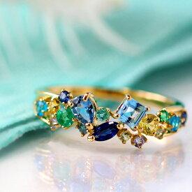 18K ブラジル産パライバトルマリン サンタマリアアクアマリン マルチカラーストーン ピンクゴールド ホワイトゴールドリング 指輪・オーシャンコフレ 婚約指輪 デザイン レディース K18 18金 カラフル ファッションリング ブランド BIZOUX ビズー 送料無料 青い宝石