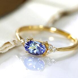 指輪 リング 18K タンザナイト ダイヤモンド ゴールド・フラヴィ イエローゴールド ピンクゴールド ホワイトゴールド セミオーダー シンプル 誕生石 デザイン 女性 レディース K18 18金 ファッションリング ブランド BIZOUX ビズー 送料無料 おしゃれ