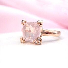 ローズクオーツ ダイヤモンドリング レディース 指輪・フダムール 18K 18金 華奢 シンプル ファッションリング 可愛い ゆびわ ジュエリー ブランド 宝石 おしゃれ