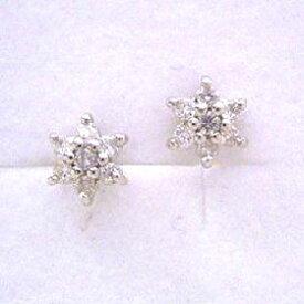 ピアス プラチナ950 レディース 0.18ctダイヤモンド・フルールネージュ Pt950 ダイアモンド 氷の花モチーフ 雪の結晶 かわいい 冬 デザイン 華奢 シンプル 小粒 可愛いピアス ジュエリー ブランド 宝石