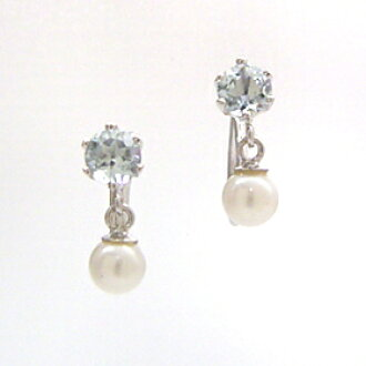 Aquamarine White Pearl Earrings Women S And Siwon Freshwater June Birth Stone Design Like Ceremonial Entrance Ceremony