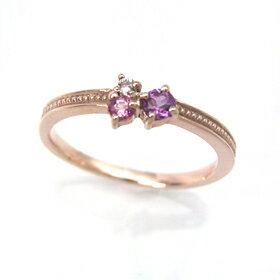 ピンクグラデーション ピンクゴールド リング レディース 指輪・ラティフィーノ ピンキーリング対応 ファランジリング ミディリング 関節リング 華奢 シンプル ファッションリング 可愛い ゆびわ ジュエリー ブランド 宝石 おしゃれ