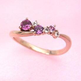ピンクサファイア ピンクトルマリン ロードライトガーネット・・・ ローズグラデーション ピンクゴールド リング レディース 指輪・フィオローサ 華奢 シンプル ファッションリング 可愛い ゆびわ ジュエリー ブランド 宝石 おしゃれ