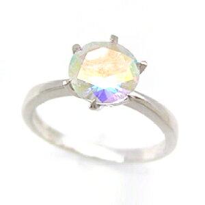 クーポンで最大5000円OFF!ミルキーレインボートパーズ ホワイトゴールド リング レディース 指輪・アヴローラ 虹の色彩をうかべる大粒ミスティックトパーズ・・! ファッションリング 可