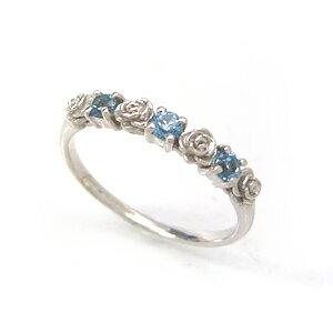 ブルートパーズ ホワイトゴールド リング レディース 指輪・アリヴェルト 10K K10 10金 華奢 シンプル ファッションリング 可愛い ゆびわ  ジュエリー バラ 薔薇の花