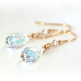 オーロラクリスタル ゴールドピアス レディース・イリュミエール 華奢 シンプル 可愛いピアス ジュエリー ブランド 宝石