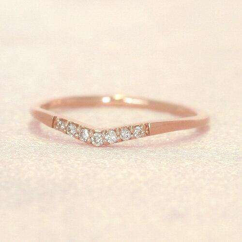 K10 ダイヤモンド V字 ピンキーリング レディース 指輪・シエーテ 結婚指輪 婚約指輪と重ねづけ 華奢リング シンプル 10K 10金 ファランジリング ミディリング 関節リング 誕生日プレゼント 女性 ファッションリング 可愛いゆびわ ジュエリー