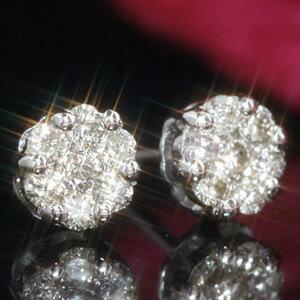 【あす楽対応】0.3ctダイヤモンド 10K ホワイトゴールド イエローゴールドピアス・ディマンジュ 10金 K10 レディース 華奢 シンプル 可愛いピアス ボリューム 花 フラワーモチーフ パヴェ ゴージャス 誕生日プレゼント 女性 ジュエリー ブランド