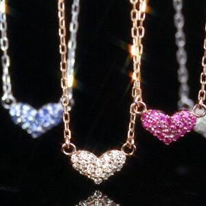 10金 アンクレット ダイヤモンド サファイア ルビー K10 パヴェ ピエペレテリア ピンクゴールド ホワイトゴールド 華奢 ハートカラーストーン モチーフ ゴージャス 大人かわいい おしゃれ 誕生日プレゼント ジュエリー ブランド 宝石