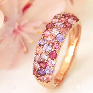 ダイヤモンド パパラチアサファイア 天然石 パヴェリング 桜 アクセサリー 誕生日プレゼント 女性 ファッションリング ゴールド さくら  可愛い 人気 春 おすすめ