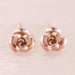バラ薔薇モチーフピアスK18ピンクゴールドイエローゴールドホワイトゴールドピアスレディース・ローズィント18K18金K14地金ピアスおしゃれ華奢シンプル可愛いピアス花フラワーモチーフスタッドピアス大人