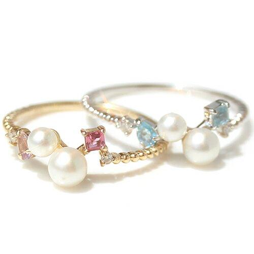 リング 指輪 レディース ジュエリー 真珠 淡水パール ダイヤモンド・マリュー ファッションリング K10 10K 10金 ゴールド ホワイトゴールド 華奢リング かわいい 重ねづけ マルチ 6月誕生石 誕生日プレゼント 女性
