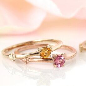 猫モチーフリング 10K 指輪 ピンキーリング レディース・ニャミューレ K10 10金 ねこ ネコ キャット アニマルジュエリー ピンクゴールド ホワイトゴールド 可愛い ファッションリング 誕生日プレゼント 女性 ブランド 宝石 おしゃれ