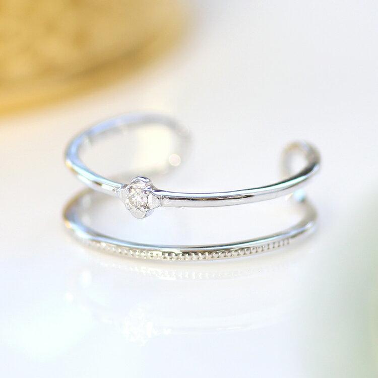 指輪 リング 10K レディース ダイヤモンド ゴールド ファッションリング・オルヴァール 10K 10金 サイズ調節可能 SMLサイズ展開 フリーサイズ 重ねづけ 重ね付け デザイン 二連 二重 華奢 シンプル 可愛いリング ジュエリー ブランド 宝石 おしゃれ