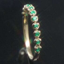 コロンビア産エメラルド 10K K10 10金 ゴールドリング レディース 指輪・エトュセ 珍しいハート爪のエタニティリング エタニティーリング ファッションリング ジュエリー 華奢 シンプル ピンクゴールド ホワイトゴールド おしゃれ デザイン ブランド 宝石