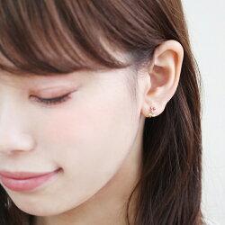 セカンドピアスレディース18K軸太0.8mm長さ12mmゴールド・ルヴィラルビーキュービックジルコニア花フラワーモチーフ可愛いピアス18金K18スタッドピアス華奢シンプルポストが太い安心ノンアレルギーアレルギー対応福耳おすすめ