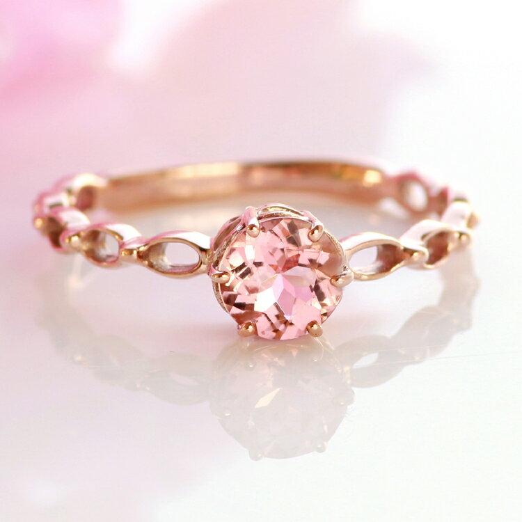 アフガニスタン産桜色ピンクトルマリン リング 10K ピンクゴールド・ルピンキーナ 指輪 レディース 10月 誕生石リング おすすめ 可愛い 女性 シンプル 大粒 ギフト ブランド 宝石