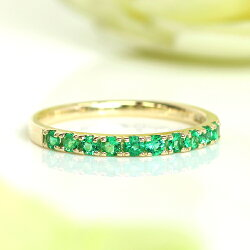 エメラルドエタニティリング18Kレディース指輪・ベルデラメディテピンクゴールドホワイトゴールド重ねづけリングおしゃれかわいいファッションリング18K18金5月誕生石ブランド