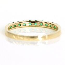 エメラルドエタニティリング10Kレディース指輪・ベルデラメディテピンクゴールドホワイトゴールド重ねづけリングおしゃれかわいいファッションリング10K10金5月誕生石ブランド